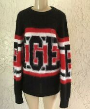 $250 NEW Hilfiger Collection  Tonny Mohair Sweater WOMENS Size L Black Red White