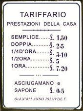 Targa tabella insegna in metallo riproduzione TARIFFARIO BORDELLO ANNI '20