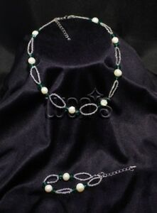 Girl's Freshwater Pearls with Green Crystals Necklace and Bracelet Set