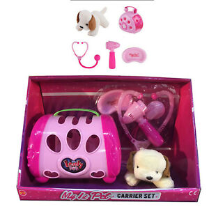 SOFT TOY PUPPY DOG IN PINK PET CARRIER CASE + DOCTOR VETS NURSING ACCESSORIES