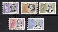 Romania 1963 MNH Sc 1562-1566 Mi 2166-2170 Verdi,Stanislavski,Thackeray **