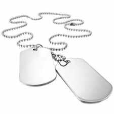 2 PCS Alloy Pendant Necklace Pendant Silver Double Dog Tag plate Army Biker J1E4