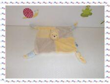 J - Doudou Semi Plat Carré Winnie  Beige  Jaune  Disney Baby Nicotoy