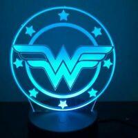 Wonder Woman Logo Illusion LED Lamp, 3D Light Experience - 7 Colors Options