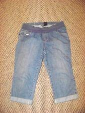 womens a.n.a. maternity light wash cuffed denim jeans capris size large 34 x 20