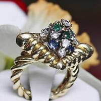 Handmade 18k yellow gold 2.25ct emerald sapphire & diamond size 5.5 ring 13.3g