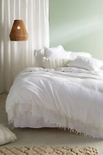 New 3 PC Anthropologie KING Evangeline Crocheted Duvet & KING Shams White