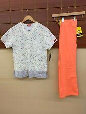 NEW Orange Print Scrubs Set With Dickies XS Top & Wink XS Petite Pants NWT