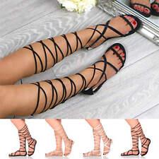 Para Mujer Damas Tie Up Con Cordones Plana Con Tiras Sandalias hasta la Rodilla Envoltura Alrededor De Tamaño