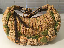 ISABELLA FIORE Knit Crochet FLOWERS Details Leather Trim Hobo Bag