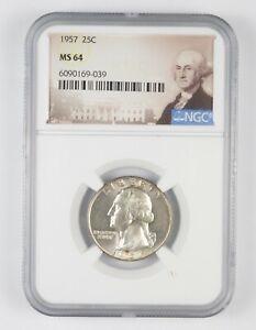 MS64 1957 - Washington Quarter Silver NGC Graded - Choice Unc *820