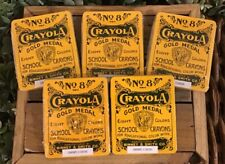 2000 Crayola No 8 Gold Medal School Crayons 8 Colors in Metal Tins, Lot of 5, Nr