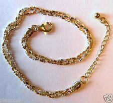 "Ankle Bracelet 10"" Includes 1"" extender Italy Sterling Silver & 14k Gold"