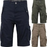 Mens Crosshatch Designer Cargo Combat Shorts Long Length Summer Multi Pocket New