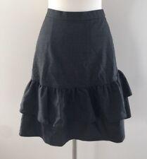 New Jcrew Tall wool flannel ruffle Office skirt Heather Charcoal Grey G8871 14T