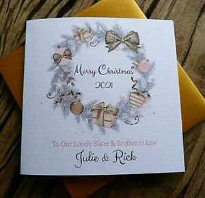 """Handmade Personalised Christmas Card Family Friends Anyone 6"""" Square  AA1"""