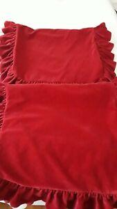 2 Ralph Lauren GUINEVERE Medieval Red Velvet King Ruffled Shams