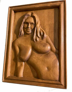 """Carving Nude 5.25"""" x 7"""" x 1.25"""" Bas-Relief Adult Star """"Jas Grey 2"""" From a PHOTO"""