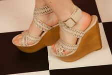 Nude pink laser cut cross over wrap around ankle strap wooden wedges