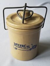 Vintage Stoneware Velvac Inc Advertising Butter Cheese Crock Bailing Wire Lid