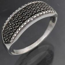 Low Set 49 BLACK 2 WHITE DIAMOND 9k Solid WHITE GOLD ETERNITY RING  Lg Sz V