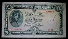 CURRENCY COMMISSION  IRELAND  1932  £1 POUND   LADY  LAVERY   BANKNOTE
