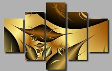 LARGE GOLD BRONZE FRACTAL CANVAS WALL PICTURE ART SPLIT MULTI PANEL 40X28 0397/5