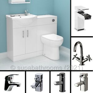 Bathroom Vanity Unit Cloakroom 1050mm Furniture Suite Gloss White WC Taps