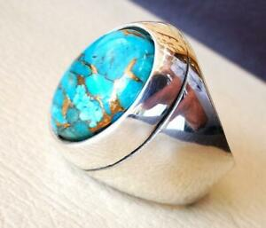 Men's 925 Sterling Silver Blue Copper Turquoise Ring Vintage Style Jewelry TM021