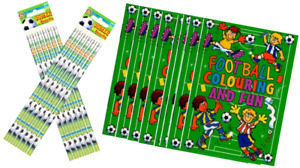 12 x Football Colouring & Fun Books & 12 x Football Pencils with Eraser Tip