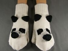 Black White Panda Bear convertible flip open thumb mittens gloves texting