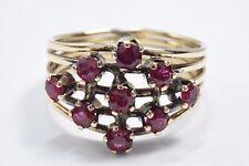 Victorian Estate Vintage 1.0 ct Natural Ruby Cluster Ring in 14k Solid Gold