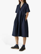 BNWT Toast Cotton Linen Stripe Dress Dark Blue UK 10 RRP £180 with Pockets