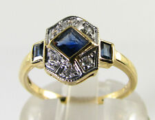 CLASS 9CT 9K GOLD BLUE SAPPHIRE DIAMOND  ART DECO INS RING FREE RESIZE