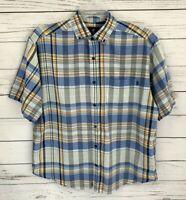 Caribbean Joe Shirt Mens Medium M Blue Plaid Button Short Sleeve Collared Cotton