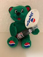 Pepsi Joy Of Cola Green Plush Promotional Bear Holding Pepsi Bottle Ear Tag