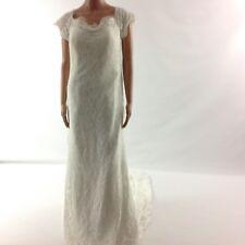Womens Wedding Dress Off Shoulder Modest Lace Train Hi Low Ivory Padded New Sz M