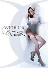 NEU Gatta Wedding Michelle 02 halterlose Hochzeitsstrümpfe modern Abschluss weiß