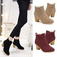 Women's Winter Zipper Short Ankle Boots High Heel Shoes Warm Martin Boots Q