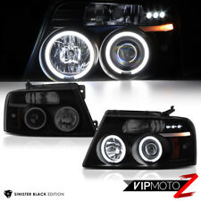 2004-2008 Ford F150 CCFL DARKEST SMOKE Halo Angel Eye LED Headlights Projector