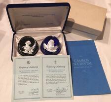 BACCARAT FRANCE FM SULPHIDE CAMEO KING LOUIS XVI &BENJAMIN FRANKLIN PAPERWEIGHTS