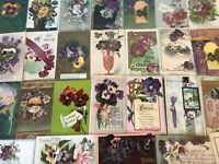Nice~LOT of 25 Victorian Floral~PANSY~Flowers greetings Postcards-Pansies-p866