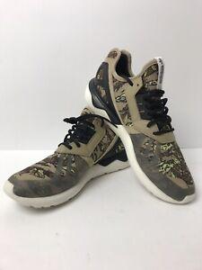 Adidas Tubular Running Shoes Hemp Black Off White Sz 11.5 US 46 EU Green Fern