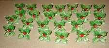 25 RARE Green Holly Poinsettia Light Bulbs Ceramic Christmas Tree Red Centers