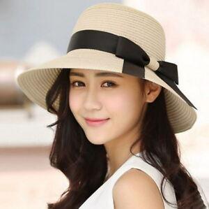 USA Women Floppy Sun Beach Straw Hats Wide Brim Packable Summer Cap