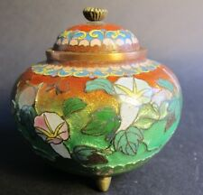 Rare 19th C. Meiji Japanese Cloisonne & Foil Lidded Vase  c. 1890  MINT antique