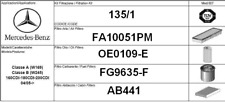 135/1 KIT 4 FILTRI TAGLIANDO MERCEDES BENZ CLASSE A W169 180 CDI KW 80 CV 109