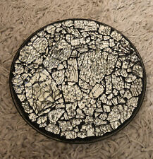 Shattered Glass Silver Mosaic Plate For Christmas Decoration / Candle Holder