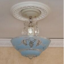 900 Vintage 40s Ceiling Light  Fixture Chandelier blue  3 Lights 1 0f 2