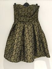 Next Strapless Prom Dress Size 10 Black Gold Jacquard Floral Paisley Mini Party